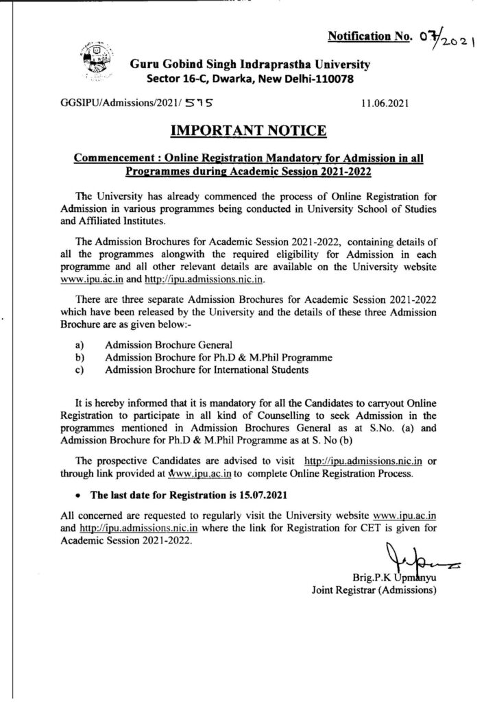 Online Registration Mandatory for admission in all Programmes during Academic Session 2021-2022